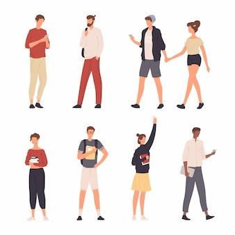 Sammlung leute-charakter-illustration, die verschiedene tätigkeit mit ihrem smartphone im flachen design tut