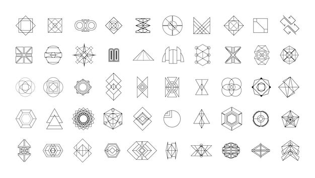 Sammlung linearer geometrischer formen und muster.