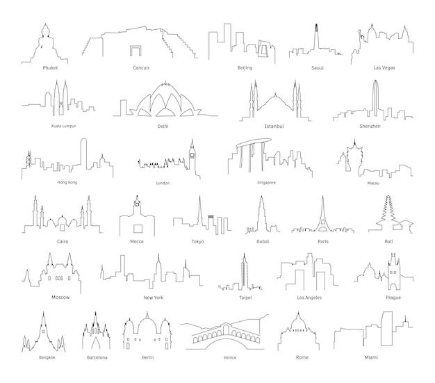 Sammlung linearer panoramen von städten verschiedener länder.