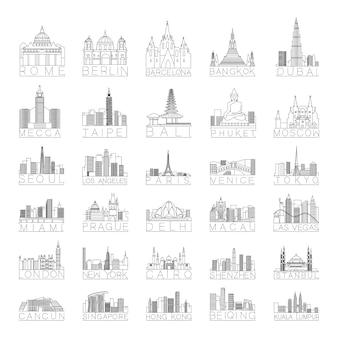 Sammlung linearer stadtsilhouetten verschiedener länder.