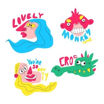 Sammlung lustige hand gezeichnete aufkleber