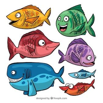 Sammlung lustiger fische