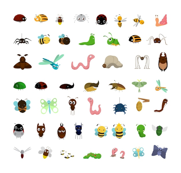 Sammlung lustiger insekten der karikatur