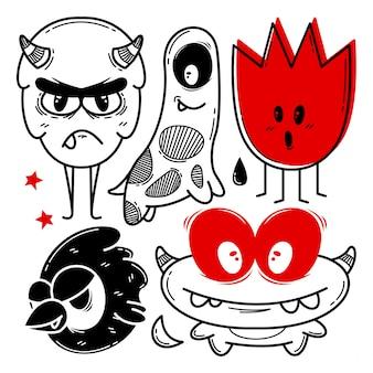 Sammlung lustiger monster handgezeichnet