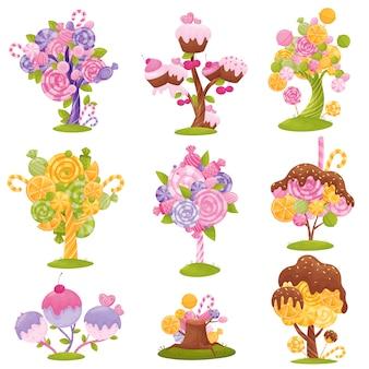 Sammlung magischer bäume und büsche mit süßigkeiten, lutschern und eis auf den zweigen. illustration auf weißem hintergrund.