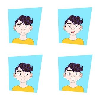 Sammlung mann-gesichtsausdrücke guy different emotions set