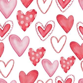 Sammlung mehrfarbige herzen illustration. hand gezeichnete pinsel blumenmalerei. romantischer stil zum valentinstag.