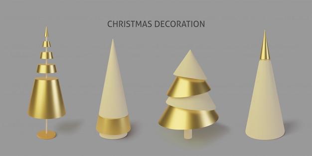 Sammlung metallisch goldene weihnachtsbäume