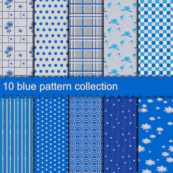Sammlung mit 10 blauen mustern