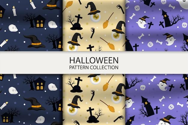 Sammlung mit drei verschiedenen halloween-mustern