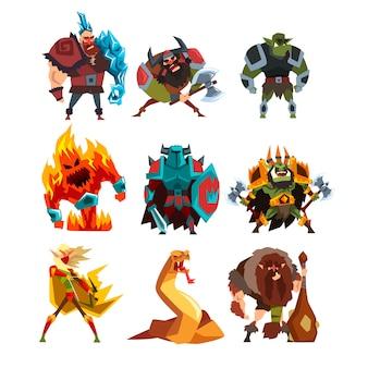 Sammlung mit fantasy-kreaturen und menschen