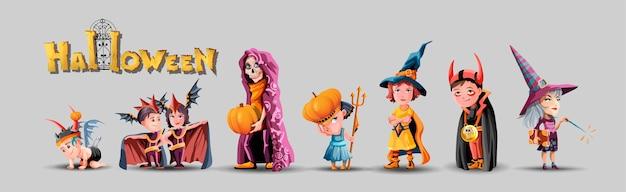 Sammlung mit kinderfiguren für halloween. halloween kostüme gesetzt.