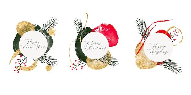 Sammlung mit weihnachtshintergrund des neuen jahres mit abstrakten organischen formen des goldflecks und tanne