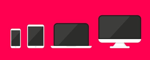 Sammlung moderner digitaler geräte-mockup-vorlagen. satz von vektorsymbolen smartphone, tablet, laptop und computer. symbole für elektronische geräte und gadgets für web und mobile. responsive flat-web-geräte