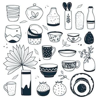 Sammlung moderner keramischer küchenutensilien oder utensilienbecher teller schalen