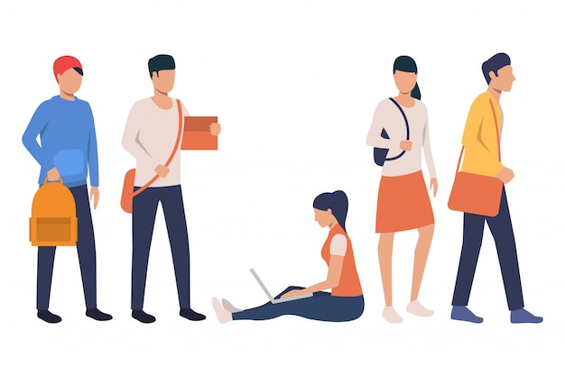 Sammlung moderner studenten mit taschen