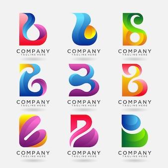 Sammlung modernes logoschablonendesign des buchstaben b