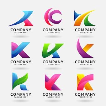 Sammlung modernes logoschablonendesign des buchstaben k