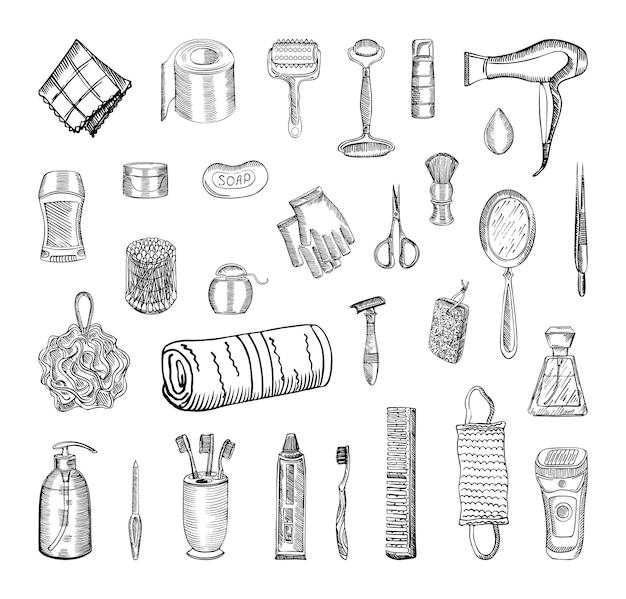 Sammlung monochromer illustrationen von schönheit und gesundheit im skizzenstil