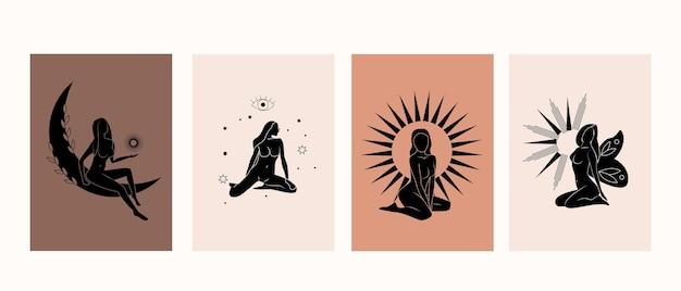 Sammlung mystischer mädchen, weibliche hand- und mondfigur, sonne und sterne, im boho-stil
