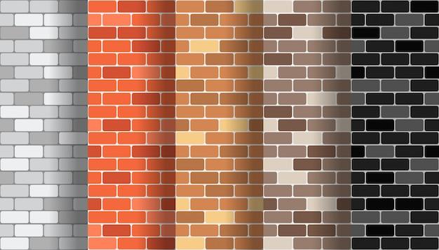 Sammlung nahtlose musterbeschaffenheiten der backsteinmauer eingestellt