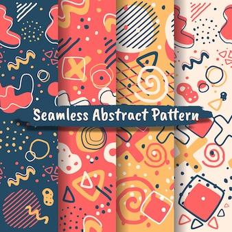 Sammlung nahtloser abstrakter muster mit trendigen handgezeichneten texturen, flecken,