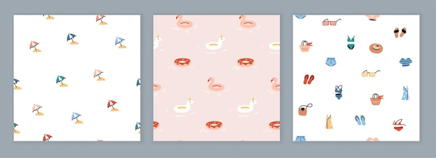 Sammlung nahtloser designs mit sommerikonen. trendige muster mit einfachen bunten illustrationen. flache zeichnung