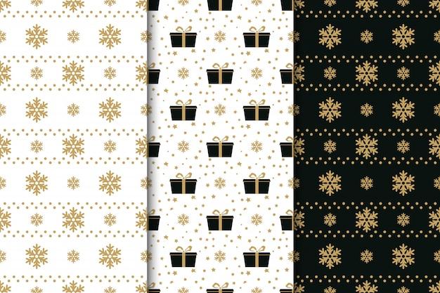 Sammlung nahtloser muster der winterferien mit schneeflocken, schleifen, geschenkboxen und sternen. goldener, schwarzer und weißer hintergrund.