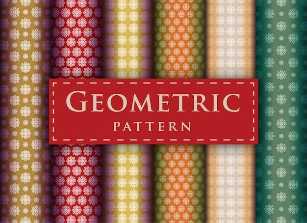 Sammlung nahtloser muster mit abstraktem geometrischem luxusdesign