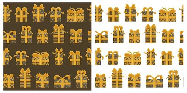 Sammlung nahtloser muster mit goldenen geschenkboxen.
