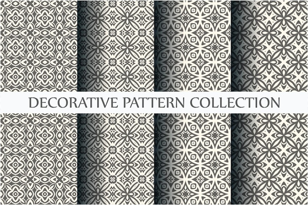 Sammlung nahtloser ziermuster mit minimaler schwarz-weiß-farbe