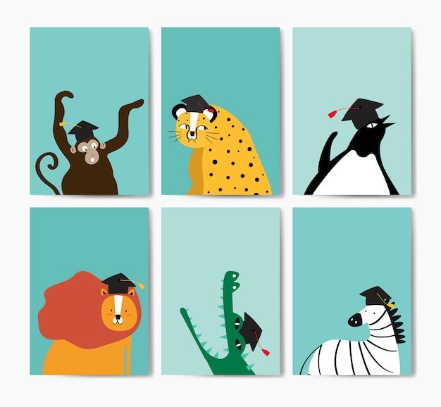 Sammlung nette tiere, die eine staffelungskappe im karikaturartvektor tragen