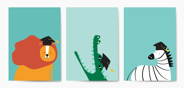 Sammlung nette tiere im karikaturartvektor