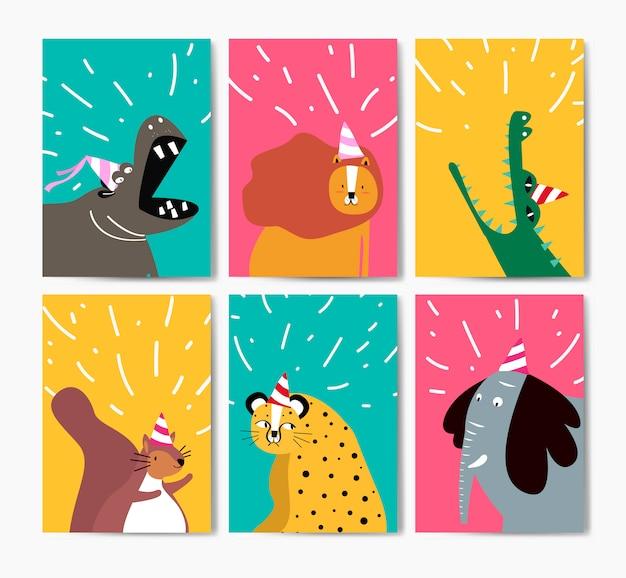 Sammlung nette tiere in der partyhutkarikatur