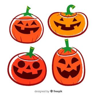 Sammlung netter hand gezeichneter halloween-kürbis