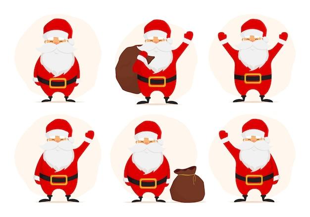 Sammlung nettes weihnachten santa claus isolaten auf weißem hintergrund.