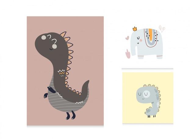 Sammlung niedliche karikatur flache illustration mit tieren