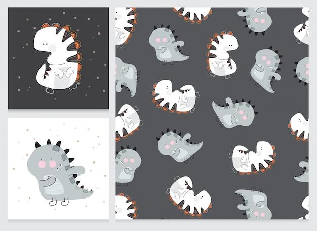 Sammlung niedlichen cartoon flachen dino muster-set