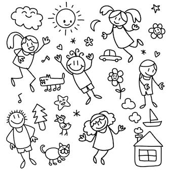 Sammlung niedlicher kinderzeichnungen von kindern, tieren, natur, objekten, gekritzelstil