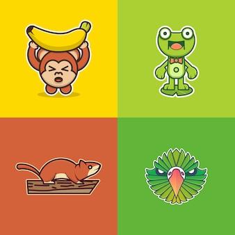 Sammlung niedliches tier für logo geeignet: affenaufkleber, froschaufkleber, eichhörnchenaufkleber und vogelkopfaufkleber