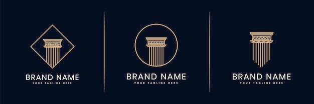 Sammlung oder satz von säulen der gerechtigkeit logo für anwalt anwaltskanzlei anwälte bauarchitekt