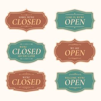 Sammlung offener und geschlossener schilder
