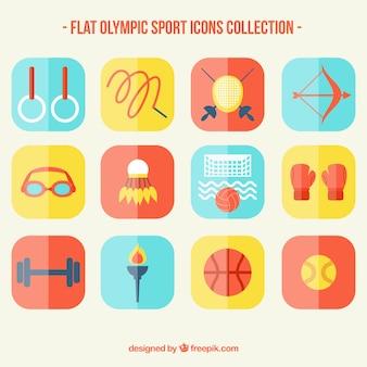 Sammlung olympischer sport im flachen design
