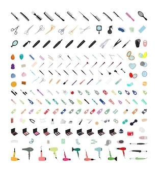 Sammlung professioneller werkzeuge für schönheitssalons