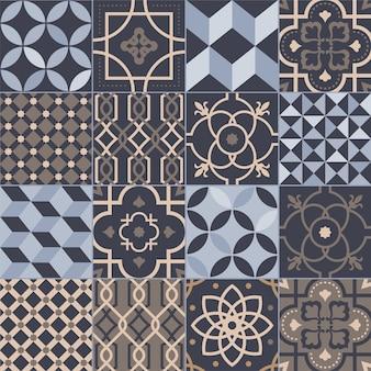 Sammlung quadratischer keramikfliesen mit verschiedenen geometrischen und traditionellen orientalischen mustern
