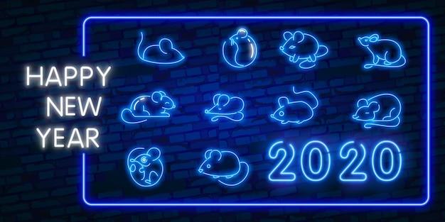 Sammlung ratten für grußkarte des chinesischen neujahrsfests 2020