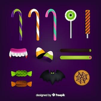 Sammlung realistische halloween-süßigkeiten