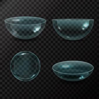 Sammlung realistischer augenkontaktlinsen auf transparentem hintergrund.
