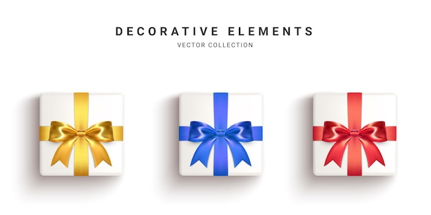 Sammlung realistischer geschenkboxen, dekorative geschenke lokalisiert auf weißem hintergrund. illustration.