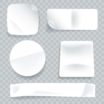 Sammlung realistischer papieraufkleber